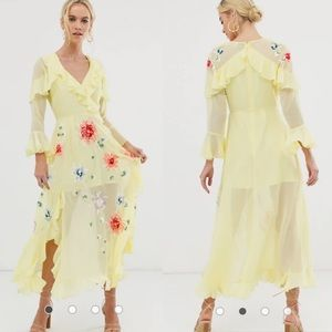 ASOS Yellow Floral Embroidered Ruffle Maxi Dress